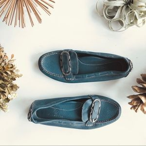 Cole Haan blue leather driving loafers